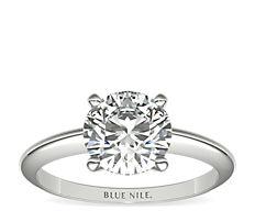 18k 白金经典四镶爪单石订婚戒指