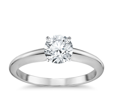Clic Four G Solitaire Engagement Ring In 18k White Gold