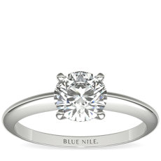 Classic Four-Claw Solitaire Engagement Ring in 18k White Gold