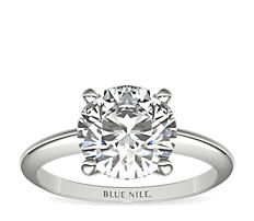 Classic Four-Prong Solitaire Engagement Ring in 18k White Gold