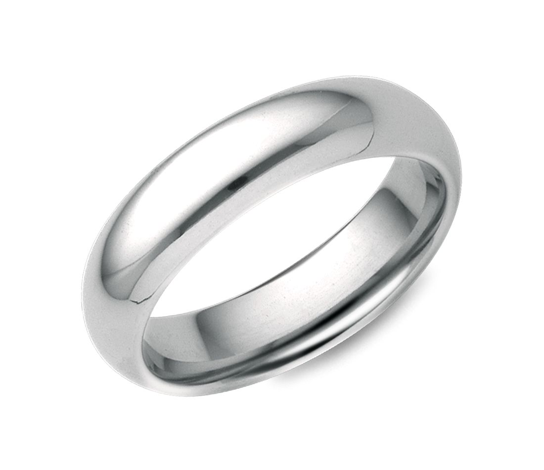White And Gold Wedding: Comfort Fit Wedding Ring In 18k White Gold (5mm)