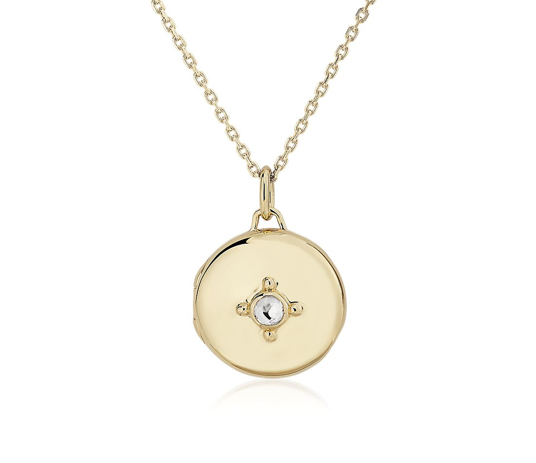 "Monica Rich Kosann 18k Yellow Gold Petite Locket with Rock Crystal Stone on 17"" Chain"