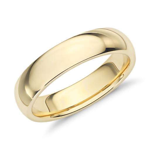 Comfort Fit Wedding Ring In 18k Yellow Gold 5mm