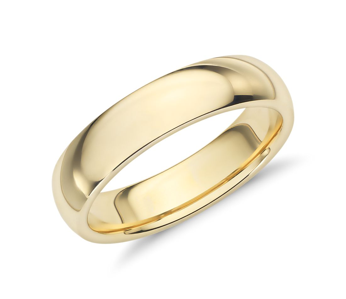 Comfort fit wedding ring in 18k yellow gold 5mm blue nile for Wedding rings on line