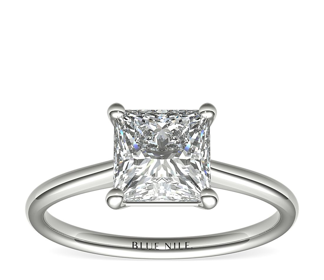 2 Carat Astor Princess-Cut Petite Solitaire in Platinum (H/SI2) Ready-to-Ship