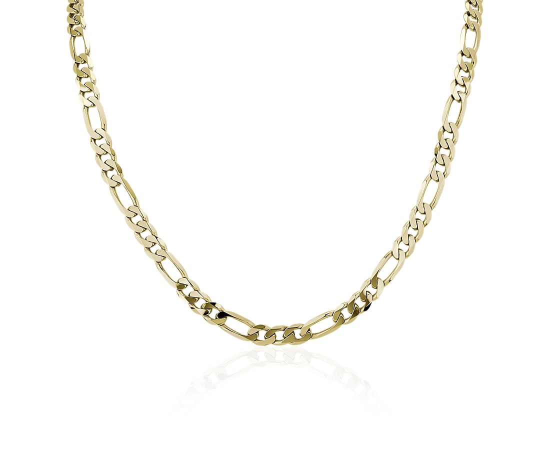 """22"""" Men's Flat Figaro Chain Necklace in 14K Yellow Gold (7.5mm)"""