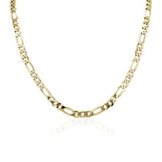 "NEW 22"" Men's Flat Figaro Chain Necklace in 14K Yellow Gold (7.5mm)"