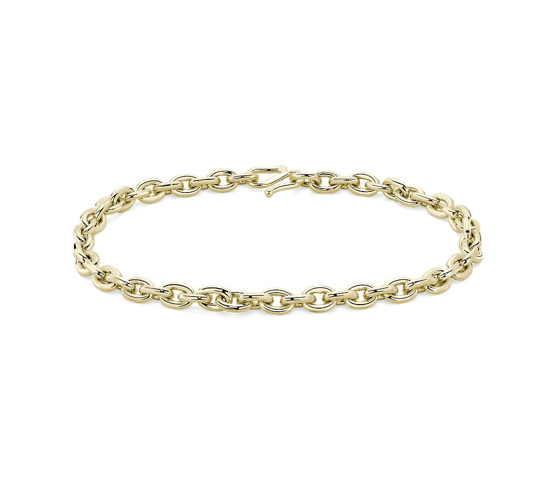 24k Solid Yellow Gold Elongated Link Chain Bracelet (5.4mm)