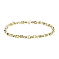 NEW 24k Solid Yellow Gold Elongated Link Chain Bracelet (5.4mm)