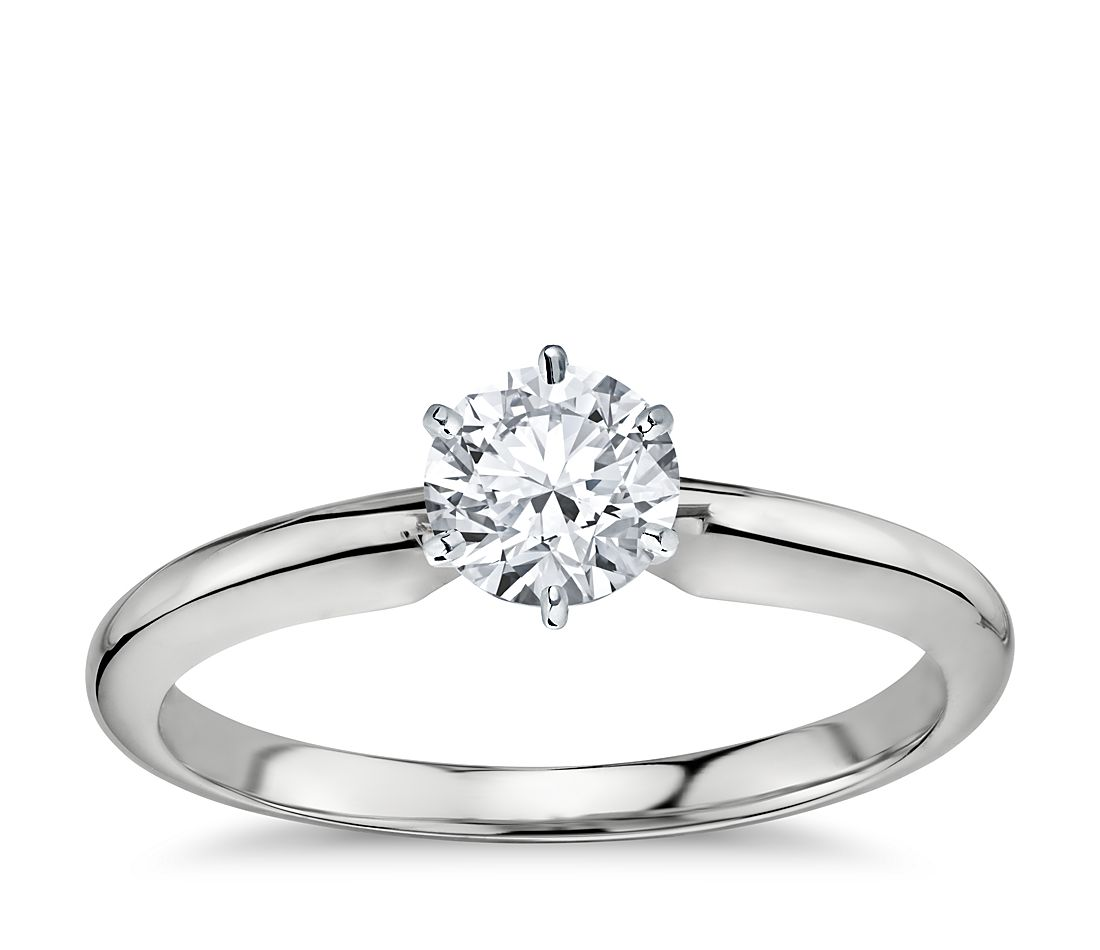 3/4 Carat Preset Classic Six Prong Engagement Ring in 14k White Gold