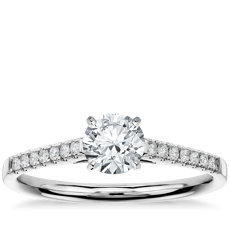 3/4 Carat Preset Petite Cathedral Pavé Diamond Engagement Ring in 14k White Gold (1/6 ct. tw.)