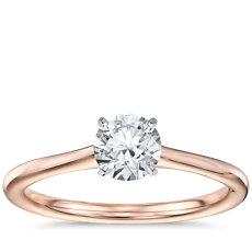 3/4 克拉14k 玫瑰金预镶嵌小巧单石订婚戒指
