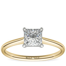 1 Carat Princess-Cut Petite Solitaire Engagement Ring in 18k Yellow Gold (I/SI2) Ready-to-Ship