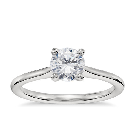 3/4 Carat Ready-to-Ship Petite Solitaire Engagement Ring in Platinum with Astor by Blue Nile Diamond