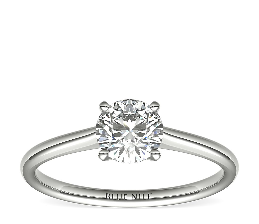 Ready-to-Ship Petite Solitaire Engagement Ring in Platinum with Astor by Blue Nile Diamond (3/4 ct. tw.)