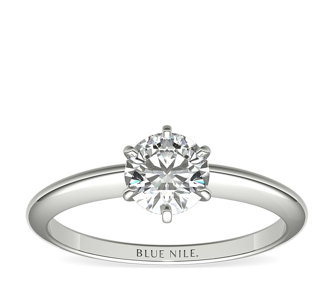 3/4 Carat Classic Six-Prong Solitaire Engagement Ring in 14k White Gold (I/SI2) Ready-to-Ship