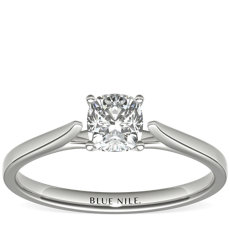 3/4 Carat Astor Cushion-Cut Petite Cathedral Solitaire in Platinum (H/SI2) Ready-to-Ship