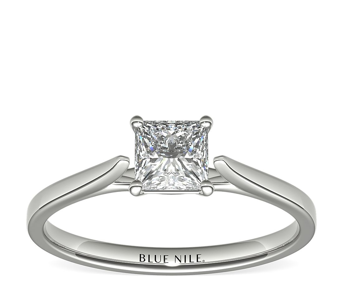 3/4 Carat Astor Princess-Cut Petite Cathedral Solitaire in Platinum (F/VS2) Ready-to-Ship