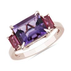 NEW 3-Stone Emerald-Cut Amethyst & Baguette Ruby Sidestone Ring in 14k Rose Gold