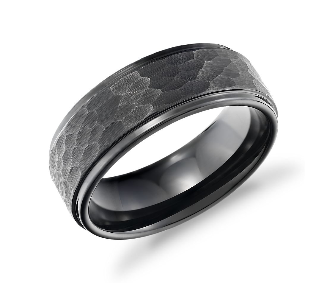 Matte Hammered Comfort Fit Wedding Band in Black Tungsten Carbide (9mm)