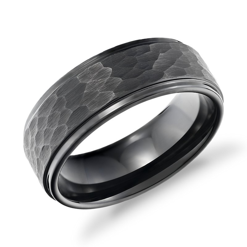 Matte Hammered Comfort Fit Wedding Band in Black Tungsten Carbide (8mm)