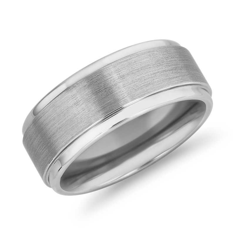 Brushed and Polished Comfort Fit Wedding Ring in White Tungsten C