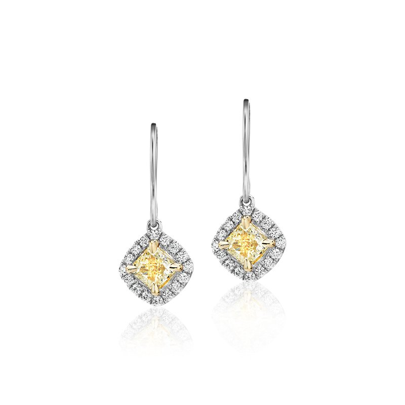 Cushion-Cut Yellow Diamond Halo Drop Earrings in 18k Yellow and W