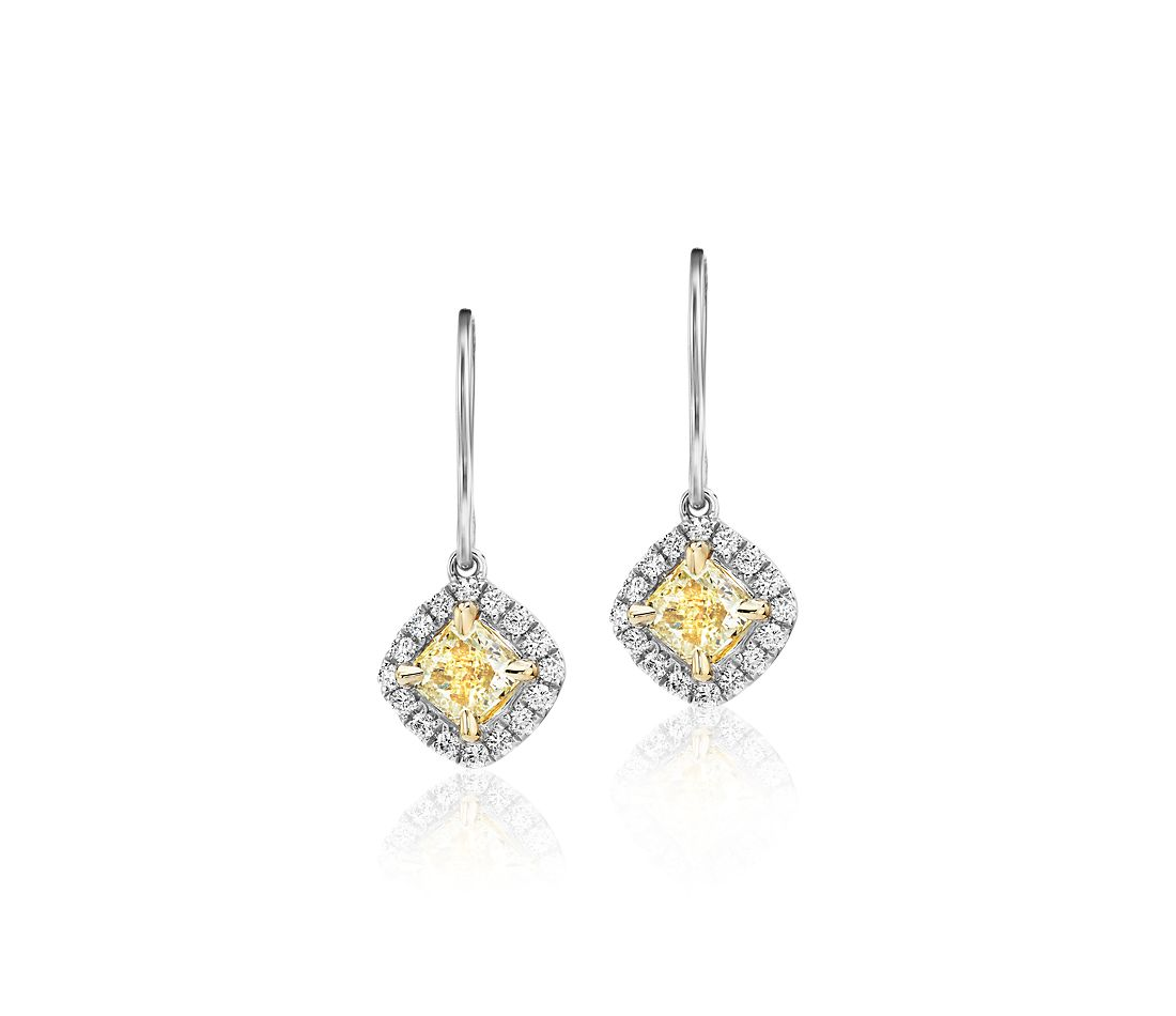 Cushion-Cut Yellow Diamond Halo Drop Earrings in 18k Yellow and White Gold (1 ct. tw.)