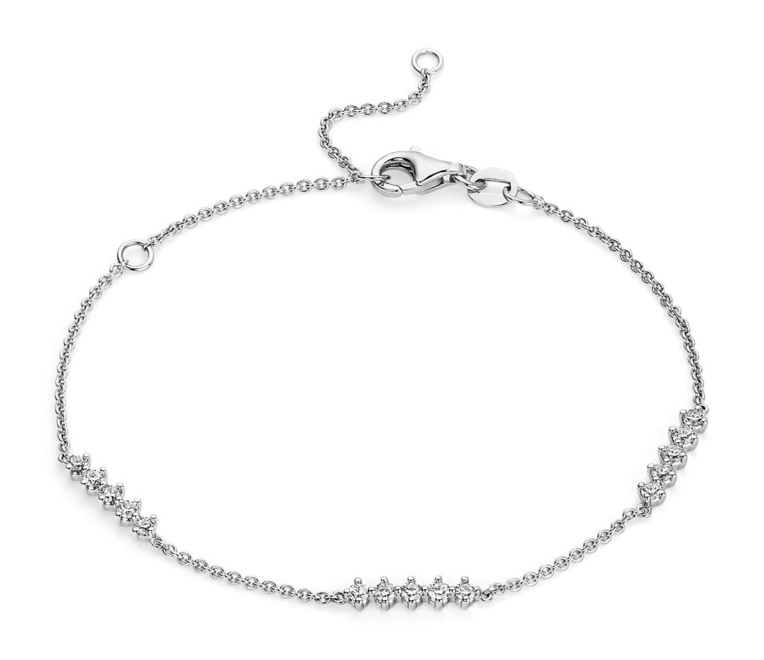 Diamond Station Bar Bracelet in 14k White Gold (1/2 ct. tw.)