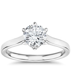 The Gallery Collection Six-Prong Trellis Solitaire Diamond Engagement Ring in Platinum