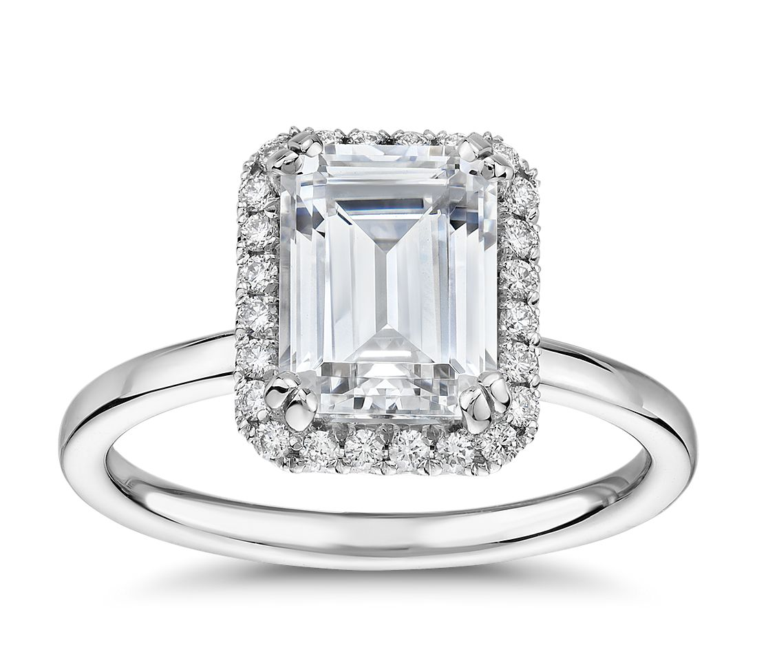 The Gallery Collection™ Simple Emerald-Cut Halo Diamond Engagement Ring in Platinum (1/6 ct. tw.)