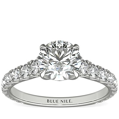 The Gallery Collection Cathedral Pave Diamond Engagement Ring in Platinum