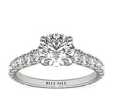 铂金 Gallery Collection™ 大教堂式密钉钻石订婚戒指<br>(5/8 克拉总重量)