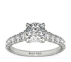 Bague de fiançailles diamant cathédral serti pavé de la Gallery Collection en platine