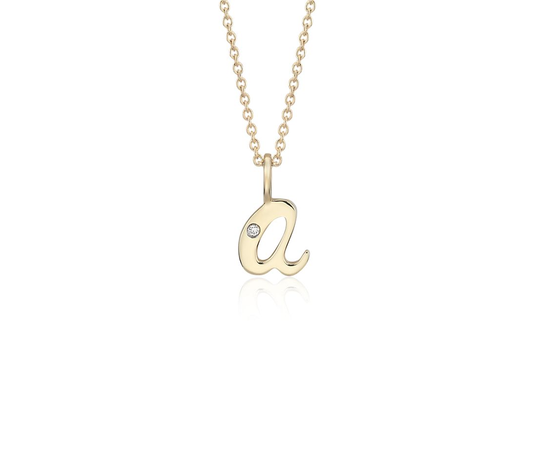 """A"" Mini Initial Diamond Pendant in 14k Yellow Gold"