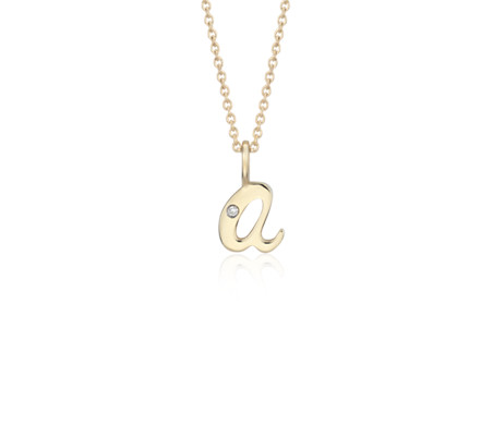 """A"" Mini Initial Pendant with Diamond Detail in 14k Yellow Gold"