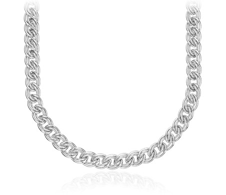 Adjustable Double Link Choker Sterling Silver