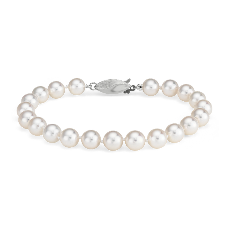 Classic Akoya Cultured Pearl Bracelet in 18k White Gold (6.5-7.0m