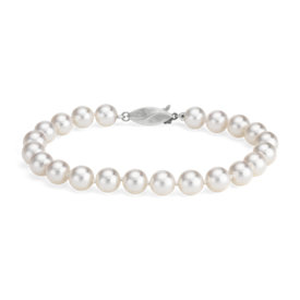 Classic Akoya Cultured Pearl Bracelet in 18k White Gold (7.0-7.5mm)