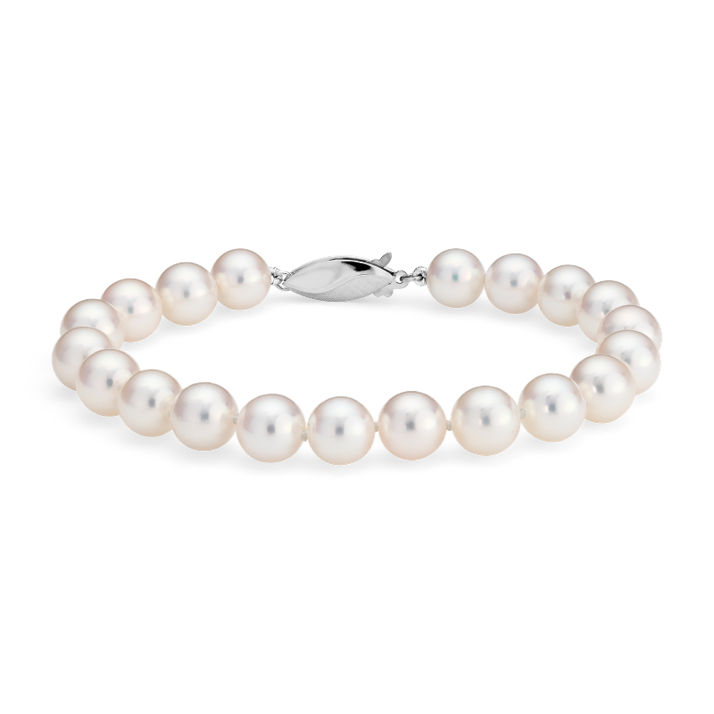 Classic Akoya Cultured Pearl Bracelet in 18k White Gold (7.5-8.0m