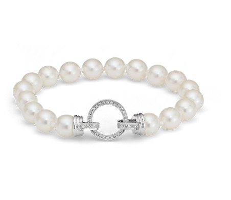 Akoya Cultured Pearl and Diamond Bracelet in 18k White Gold (7.5-8.0mm)