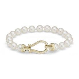 Brazalete de perlas de Akoya cultivadas con broche estilo freno de caballo con diamante en oro amarillo de 18k (6,5-7,0mm)
