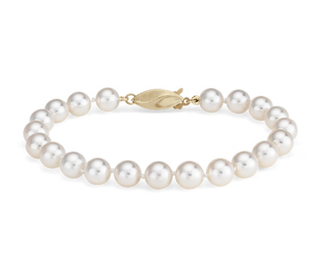 Classic Akoya Cultured Pearl Bracelet in 18k Yellow Gold (6.5-7.0mm)