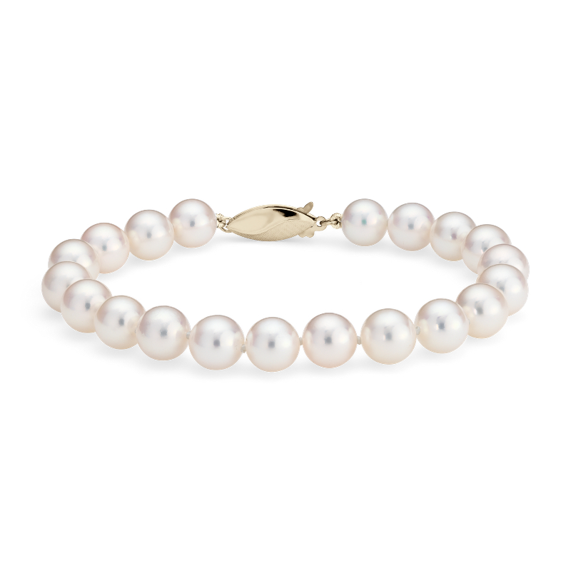 Classic Akoya Cultured Pearl Bracelet in 18k Yellow Gold (7.5-8.0