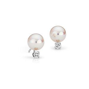 Puces d'oreilles diamant et perle de culture d'Akoya de la plus haute qualité en or blanc 18carats (8,0-8,5mm)