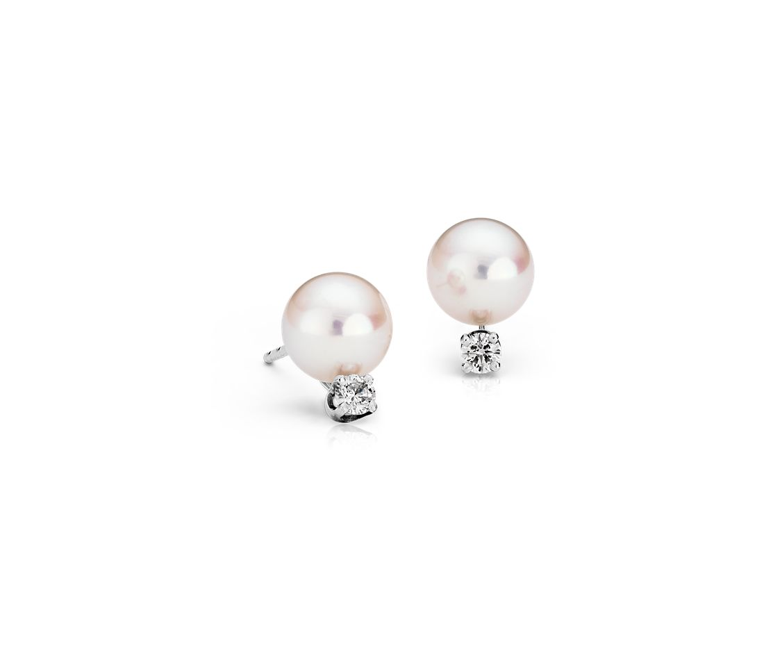 Premier Akoya Cultured Pearl Stud and Diamond Earrings in 18k White Gold (7.0-7.5mm)