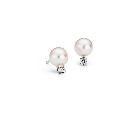 Aretes de diamantes y perlas de Akoya cultivadas Premier en oro blanco de 18 k (7,0-7,5mm)