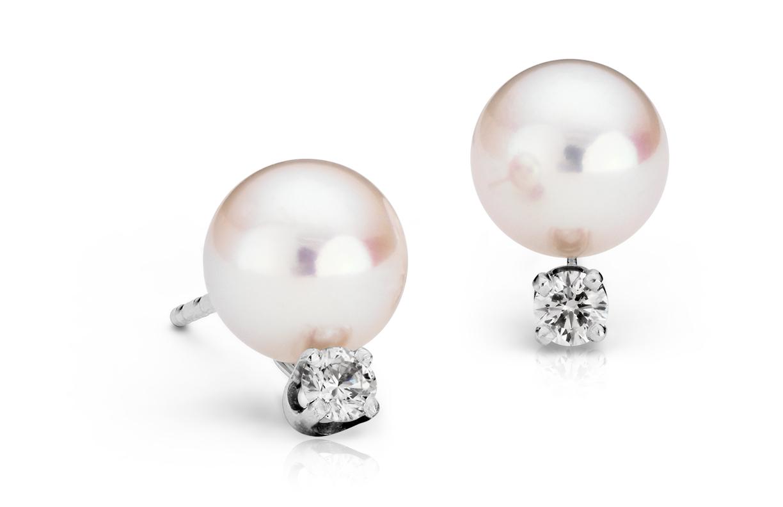 Boucles d'oreilles diamant et perle de culture d'Akoya de la plus haute qualité en or blanc 18carats (7,0-7,5mm)