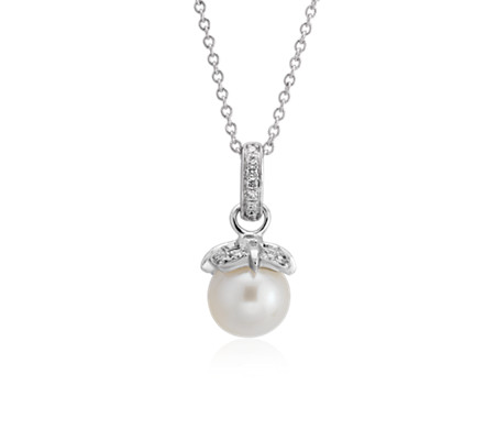 Monique Lhuillier Akoya Cultured Pearl and Diamond Petal Pendant in 18k White Gold (6.5-7mm)