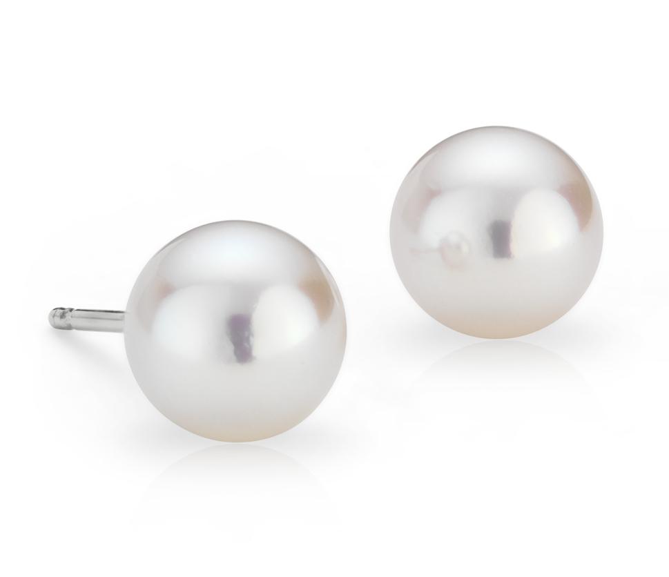 Aretes de perlas cultivadas de Akoya Premier en oro blanco de 18 k (7,0-7,5mm)